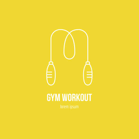 Single with a skipping rope made in modern line style vector. Perfect label for gym, fitness or other healthy lifestyle industry.