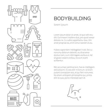 Sport and fitness design element with place for your text. Banner or flyer template with gym equipment, muscle man, sport gear. Fintess line style vector.