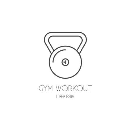 Single icon with a weight made in modern line style vector. Perfect label for gym, fitness or other healthy lifestyle industry.  イラスト・ベクター素材