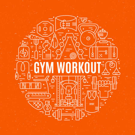 Sport and fitness design element - different gym elements arranged in a circle with sign gym workout. Vector design for gym advertising, banner or poster.  イラスト・ベクター素材