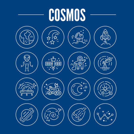 Space icons made in modern line style vector. Cosmos icons isolated on background and easy to use. Clean and simple vector space symbols. Space clipart. Ilustração
