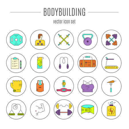 Modern line collection of icons with different fitness, bodybuilding and weightloss elements. Vector line icon collection.