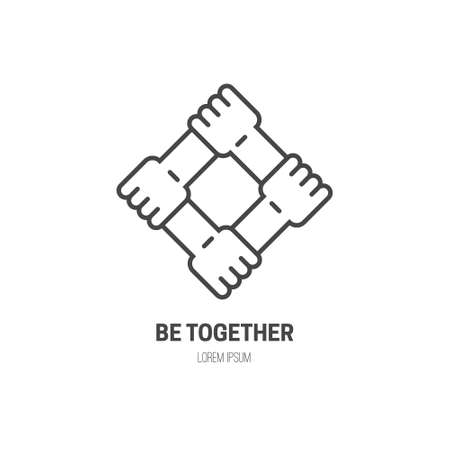 Four connected hands - symbol for togetherness. Vector line style label for non-profit organization or fundraising event. Illustration