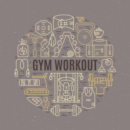 Sport and fitness design element - different gym elements arranged in a circle with sign gym workout. Vector design for gym advertising, banner or poster. Illustration