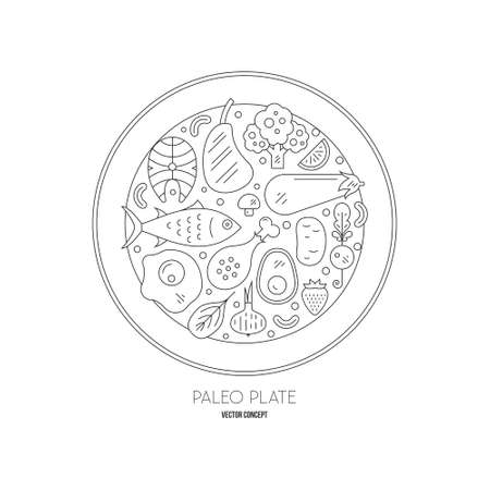 Paleo plate - plate full of different paleo products, including seafood, chicken, meat, vegetables, fruits and nuts. Vector line art.