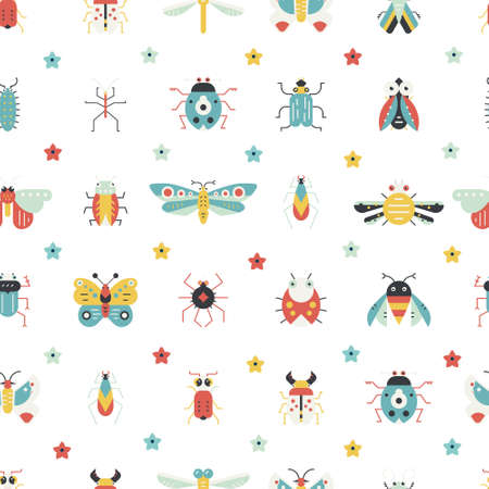 Geometric pattern with bugs and insects. Colorful seamless texture for your design made in vector.