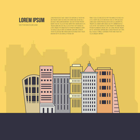 City scene with different office buildings made in vector. Skyscraper collection with place for your text. Flyer or banner template with modern line style town graphic.