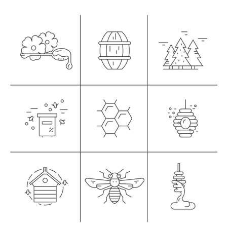 Icônes de miel avec abeilles, nid d'abeille, louche et autres choses. Étiquettes et symboles de miel en vecteur. Vecteurs