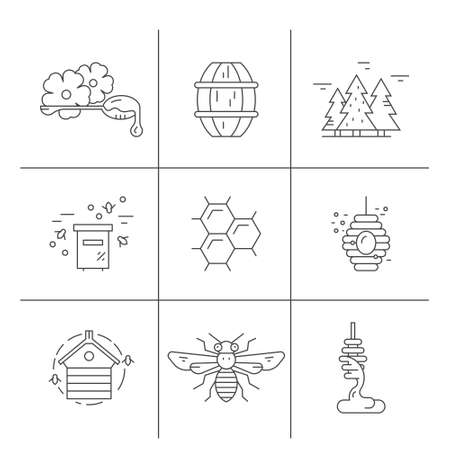 Honey icons with bees, honeycomb, dipper and other things. Honey labels and symbols made in vector.