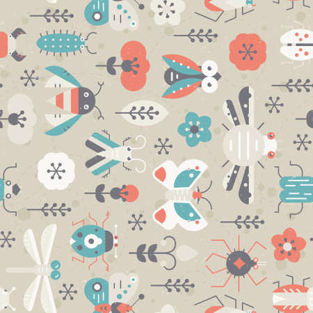 Cute geometric pattern with bugs and insects. Vintage seamless texture for your design made in vector. Illustration
