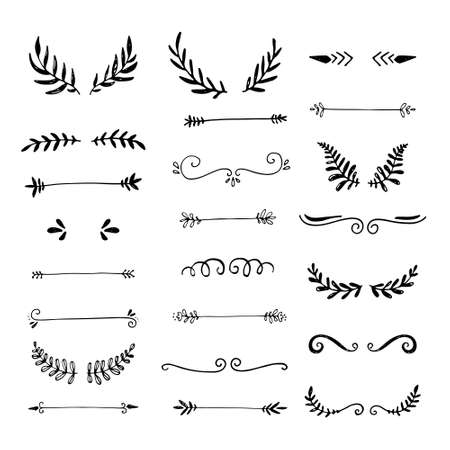 Collection of handdrawn borders made with brush and ink. Unique swirls and dividers for your design. Ink borders. Vector dividers. Stock Vector - 111997062