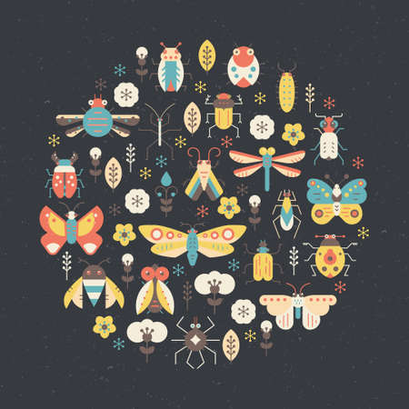 Bugs and insects poster design. Circle decoration element made in vector with cute creatures. Illustration