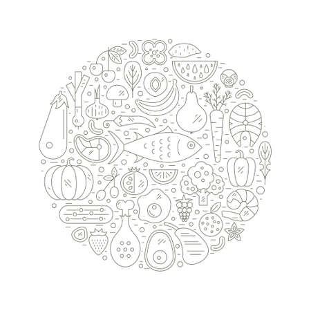 Paleo food circle concept. Healthy diet illustraion made in line style vector. Fish, eggs, vegetables, fruits, meat and seafood arranged in a circle.