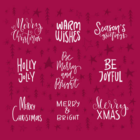 big collection of handdrawn christmas and new year quotes and phrases lettering for greeting cards