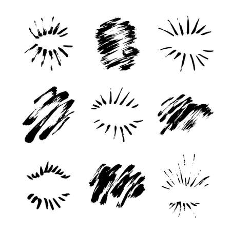 Collection of handdrawn sun bursts. Unique design for your logo or text drawn by pen and ink. Grunge design element. Vector art. Illustration