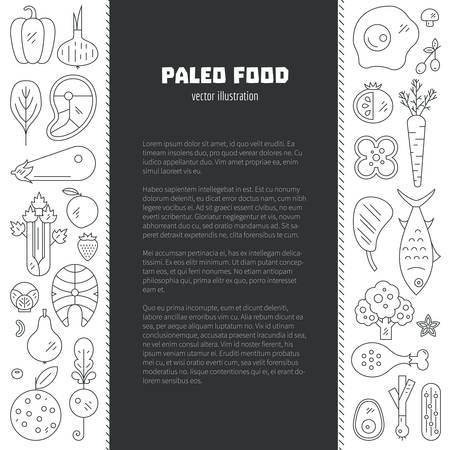 Paleo diet card or poster template with place for your text. Healthy lifestyle design element with different fruits, vegetables, seafood and meat.