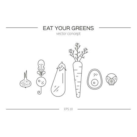 Illustration of different vegetables made in line style vector. Healthy food illustration. Vegetarian diet concept. Organic market design element. Иллюстрация