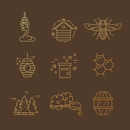 Set of symbols with honey, bee, hive, honeycomb and other honey related items. Vector elements for your design. 矢量图像
