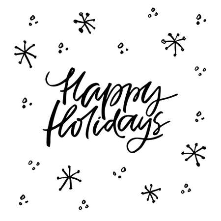 Handmade winter lettering Happy Holidays. Christmas and New Year bundle. Illustration