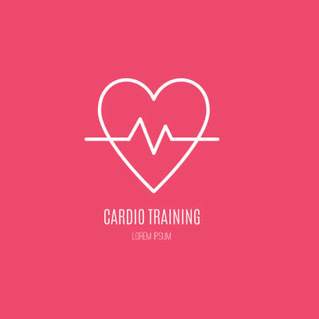 Single logo with a heart with cardio line made in modern line style vector. Perfect label for gym, fitness or other healthy lifestyle industry.