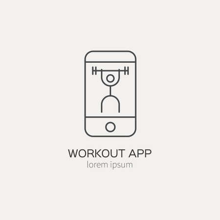 Single logo with a phone with sports app on made in modern line style vector. Perfect label for gym, fitness or other healthy lifestyle industry.  イラスト・ベクター素材