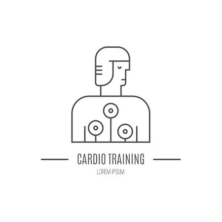 Single logo with a man with cardio test machine on made in modern line style vector. Perfect label for gym, fitness or other healthy lifestyle industry.  イラスト・ベクター素材
