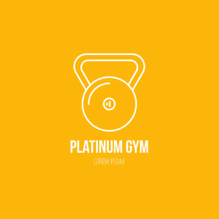 Single logo with a weight made in modern line style vector. Perfect label for gym, fitness or other healthy lifestyle industry.
