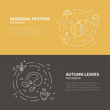 Banner or flyer template with autumn symbols. Fall icons isolated on background and easy to use. Vector card collection. Vettoriali