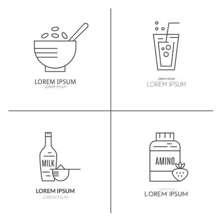 Collection of icons with sport nutrition objects. Healthy food. Gym and workout diet symbols made in vector - protein shake, amino powder. Illustration
