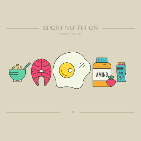 Sport nutrition or diet illustration made in vector. Healthy lifestyle series. Stock Illustratie