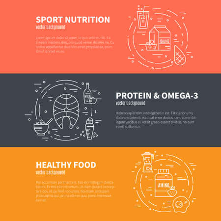 Collection of banner elements with healthy food or sport nutrition. Healthy lifestyle illustration isolated on background.