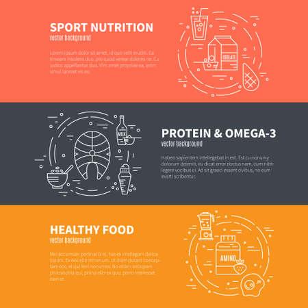 Raccolta di elementi di banner con cibo sano o nutrizione sportiva. Illustrazione di stile di vita sano isolato su priorità bassa. Vettoriali