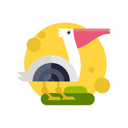 Vector illustration of a pelican made in flat style. Cartoon character.