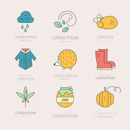 Set of autumn logotypes and icons including rain, jam, weather. Vector symbols of fall.  Modern set of line elements.