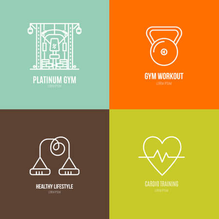 Icon collection of different fitness and gym objects. Healthy lifestyle vector. Bodybuilding and sport line series.