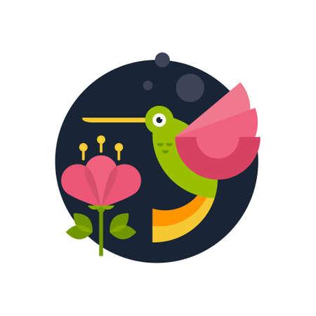 Illustrazione vettoriale di un colibrì e fiore realizzato in stile piatto. Personaggio dei cartoni animati. Vettoriali