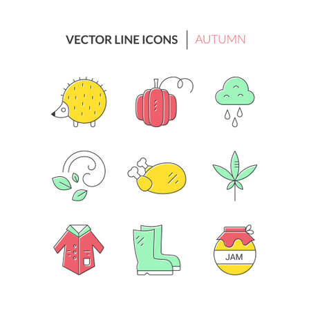 Coat, boots, jam, rain - different autumn symbols. Fall icons made in vector. Clean vector series.Unique and modern set of linear icons isolated on background.
