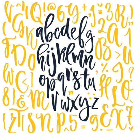 Handdrawn calligraphic font. Latin alphabet drawn by hand. Vector calligraphy font with unique texture. Ilustrace