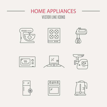 Vector line collection of house appliances including fridge, mincer, stove, teapot, microwave. House technology. Stock Illustratie