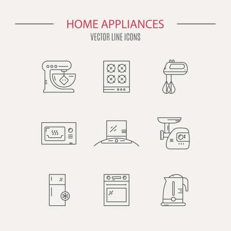 Vektorlinie Sammlung von Haushaltsgeräten einschließlich Kühlschrank, Fleischwolf, Herd, Teekanne, Mikrowelle. Haustechnik.
