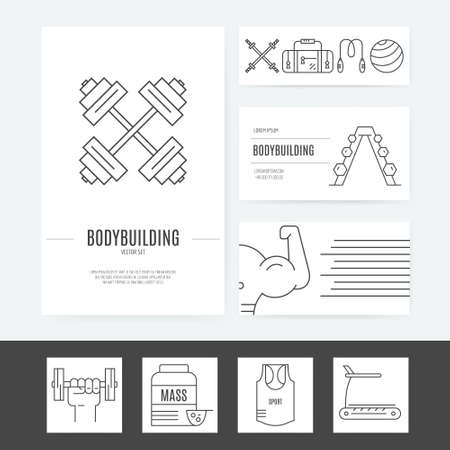 Set of business identity elements with gym equiment - modern line style collection of brand elements for fitness or gym. Illustration