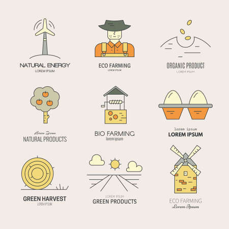 Set of vector bio product labels, agricultural logos, Collection of eco farming badges. Modern easy to edit logo template. Great for organic product design.