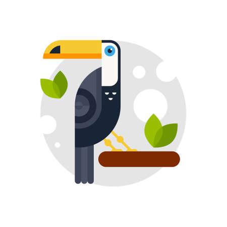 Vektorillustration eines Tukans gemacht im flachen Stil. Zeichentrickfigur. Vektorgrafik