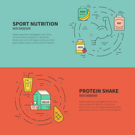 Collection of banner concepts with sport nutrition. Healthy lifestyle and diet illustration made in vector.