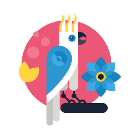 Vector illustration of a parrot and flowers made in flat style. Cartoon character.