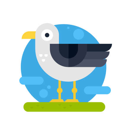 Vector illustration of a seagull made in flat style. Cartoon character. Illustration