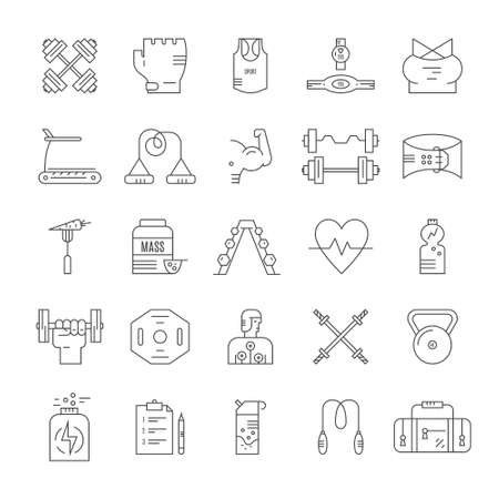 Collection of vector line style icons of weightloss, active lifestyle and gym training. Gym and fitness center equipment.