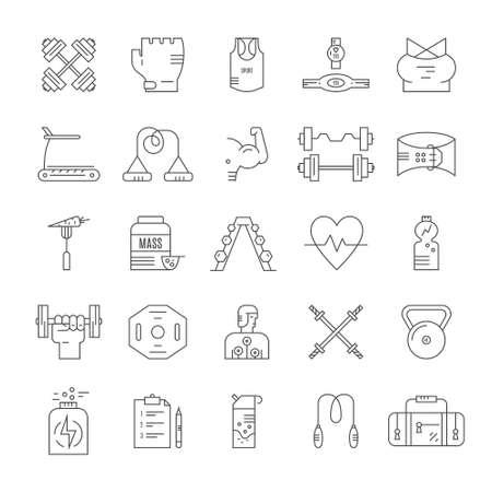 Zbiór ikon stylu linii wektora odchudzania, aktywnego stylu życia i treningu na siłowni. Wyposażenie siłowni i centrum fitness. Ilustracje wektorowe