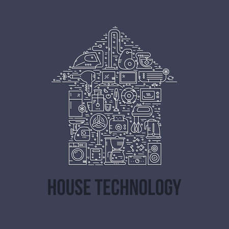 Different house appliances arranged in a shape of a house. House technology. Vector line style illustration.