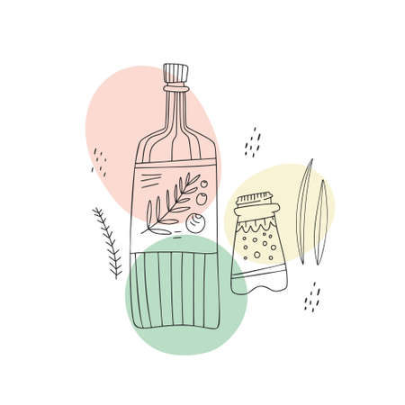 Bottle with olive oil and salt shaker. Small people cooking concept. Hand drawn illustration made in vector.